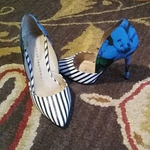Stripe & Flower pattern heels